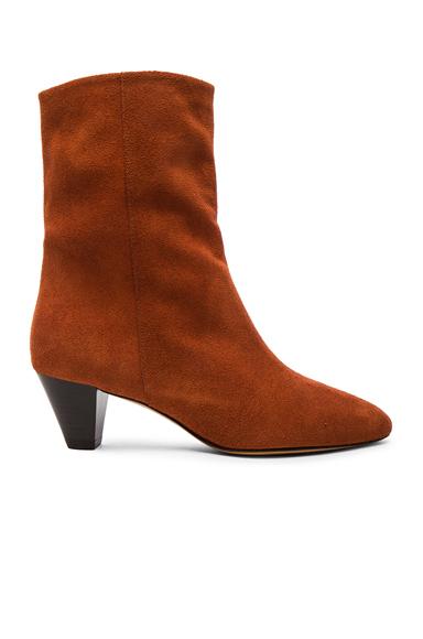 Isabel Marant Etoile Dyna New Velvet Booties in Orange, Brown