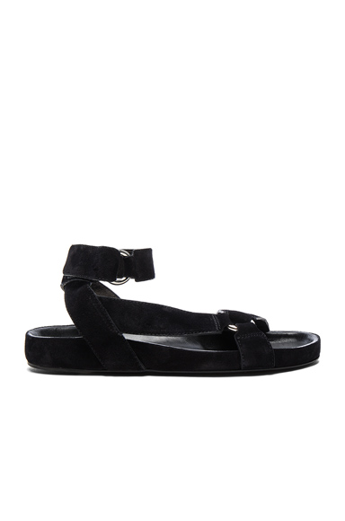Isabel Marant Etoile Suede Loatis Easy Chic Sandals in Black