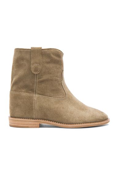 Isabel Marant Etoile Crisi Calfskin Velvet Leather Boots in Neutrals, Gray