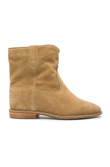 Isabel Marant Etoile Crisi Velvet Boots in Neutrals