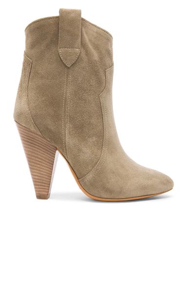 Isabel Marant Etoile Roxann Calfskin Velvet Leather Booties in Neutrals, Gray