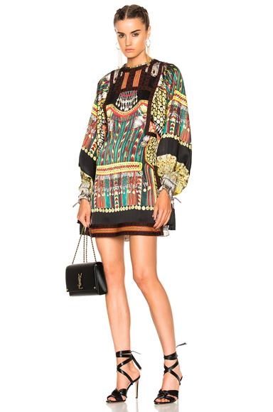 Etro Liquorice Mini Dress in Abstract, Green, Purple, Red, Yellow