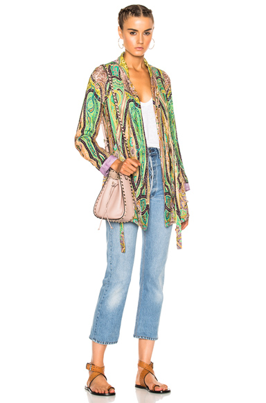 Etro Violante Printed Jacket in Abstract, Green, Purple