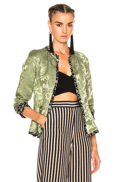 Etro Floral Lined Jacket in Floral, Green