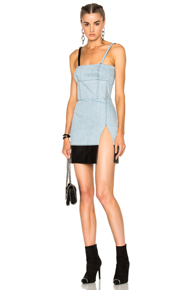 Fausto Puglisi Woven Mini Dress in Blue