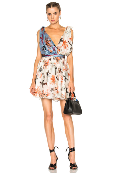 Fausto Puglisi Print Mini Dress in Abstract, Blue, Neutrals, Orange
