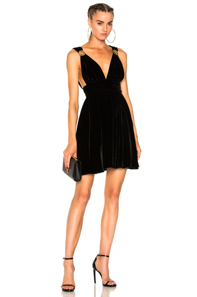 Fausto Puglisi Short Velvet Dress in Black