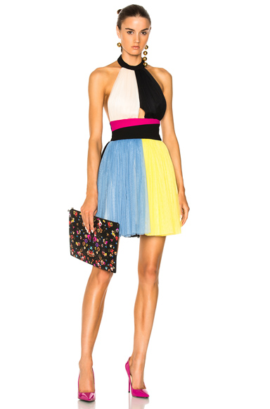 Fausto Puglisi Color Block Short Halter Top Tulle Dress in Black, Blue, Yellow