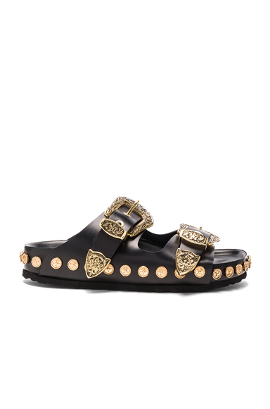 Fausto Puglisi Studded Leather Sandals in Black