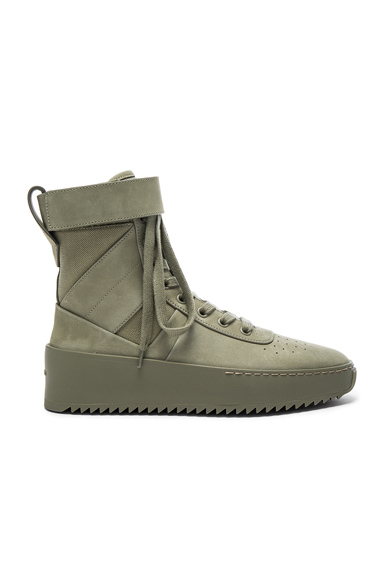 Fear of God Nubuck Leather Military Sneakers in Green