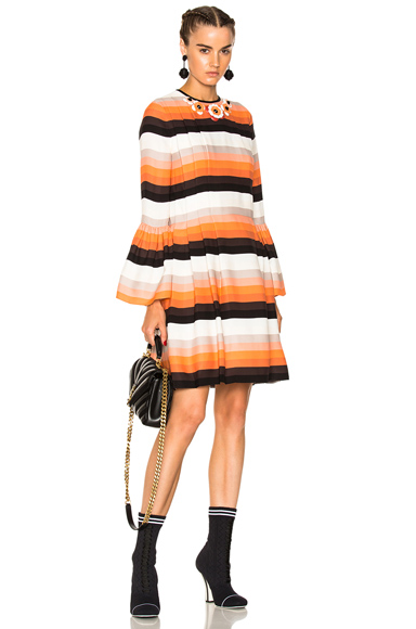 Fendi Striped Long Sleeve Mini Dress in Orange, Stripes