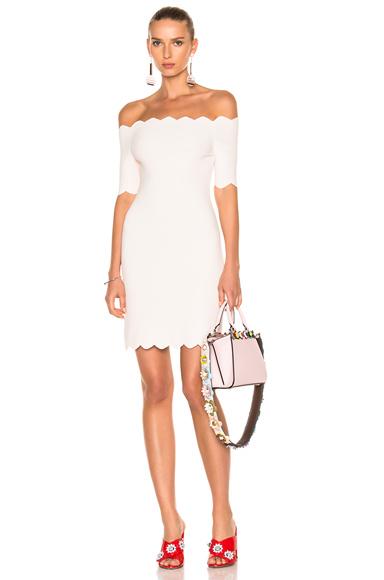Fendi Off the Shoulder Mini Dress in Pink, White