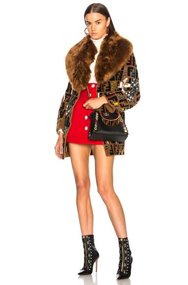 Fendi Patchwork Lamb & Alpaca Fur Coat in Brown, Abstract, Floral