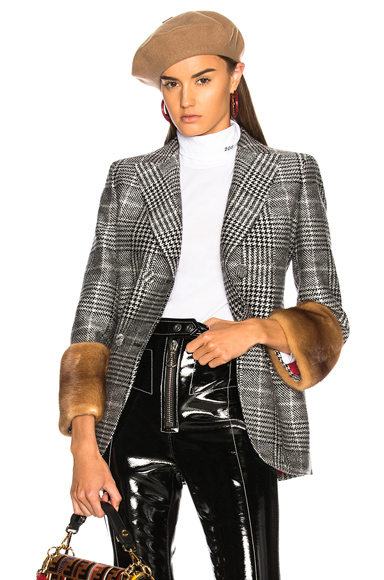 Fendi Mink Fur Cuff Double Breasted Blazer in Black, Checkered & Plaid