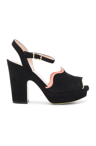Fendi Suede Ankle Strap Heels in Black. - size 37 (also in 40)