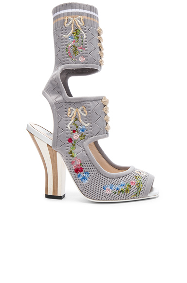 Fendi Cut Out Knit Sandals in Gray, Floral