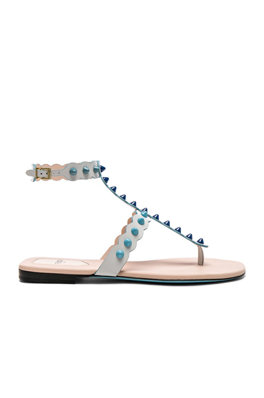 Fendi Studded Leather Gladiator Sandals in White. - size 36.5 (also in 38.5)