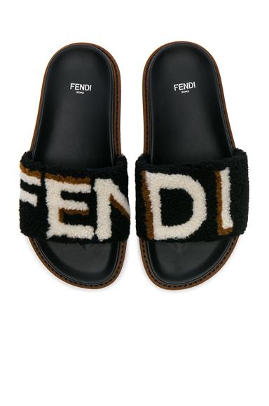 Fendi Stripy Shearling Sandals in Black