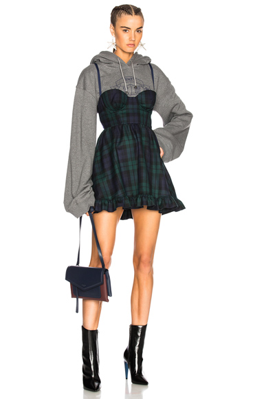 Fenty by Puma Dress with Hoodie in Gray, Checkered & Plaid, Green, Blue