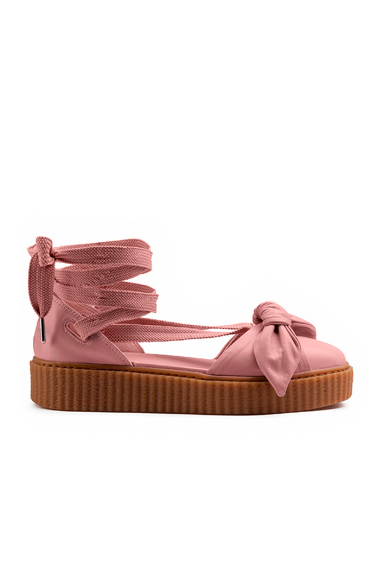 Fenty by Puma Bow Leather Creeper Sandals in Neutrals, Pink