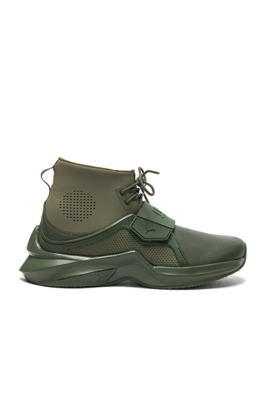 Fenty by Puma Leather Trainer Sneakers in Green