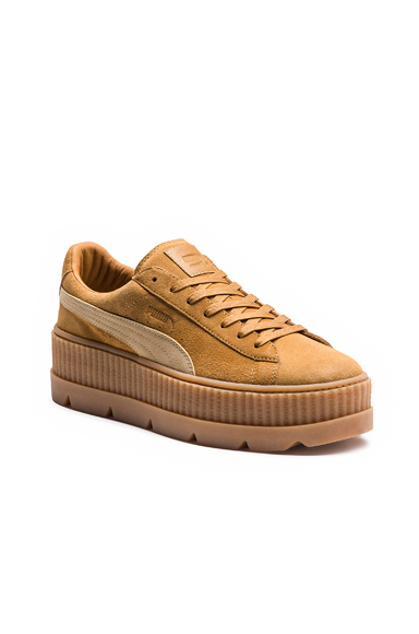 Fenty by Puma Cleated Suede Creeper Sneakers in Neutrals