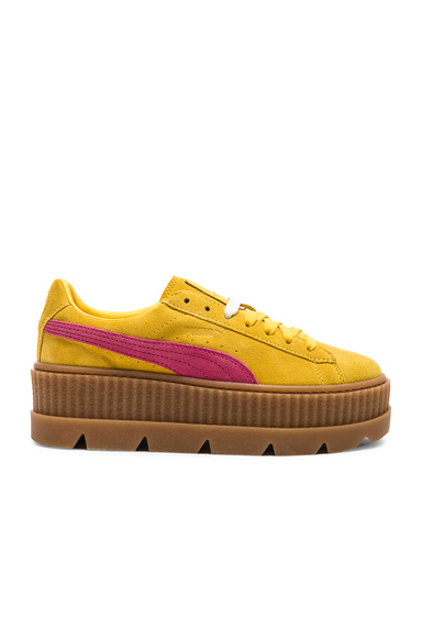Fenty by Puma Cleated Suede Creeper Sneakers in Yellow
