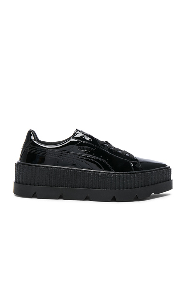 Fenty by Puma Pointy Patent Leather Creeper Sneakers in Black