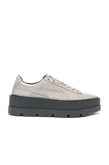 Fenty by Puma Pointy Patent Leather Creeper Sneakers in Gray