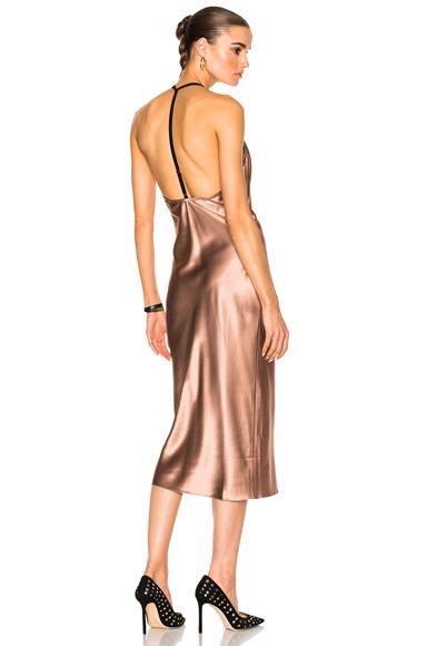 fleur du mal Cowl Neck Bias Slip Dress in Neutrals, Pink