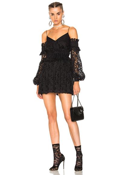 Francesco Scognamiglio Off the Shoulder Lace Mini Dress in Black