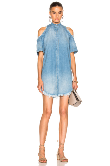 Frankie Exposed Shoulder Shirt Dress in Blue