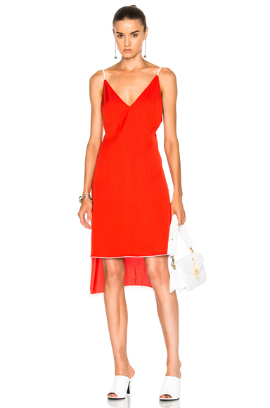 Frankie Slip Dress with Piping in Red