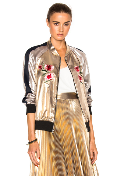 Frankie Embroidered Bomber Jacket in Metallics