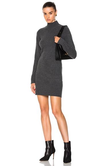 FRAME Denim Turtleneck Long Sleeve Dress in Gray