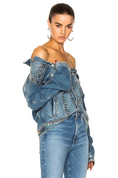 FRAME Denim Le Studded Jacket in Blue