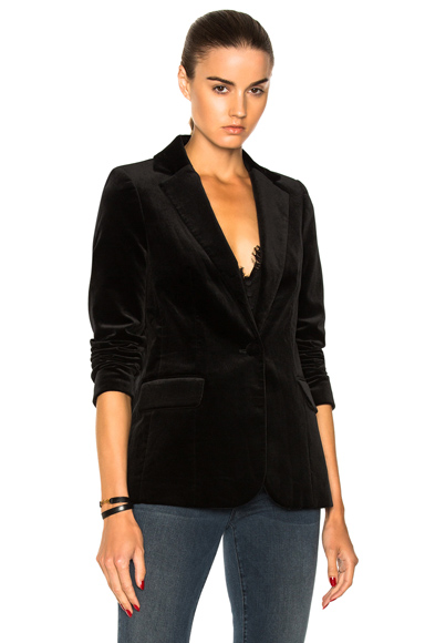 FRAME Denim Velvet Classic Blazer in Black