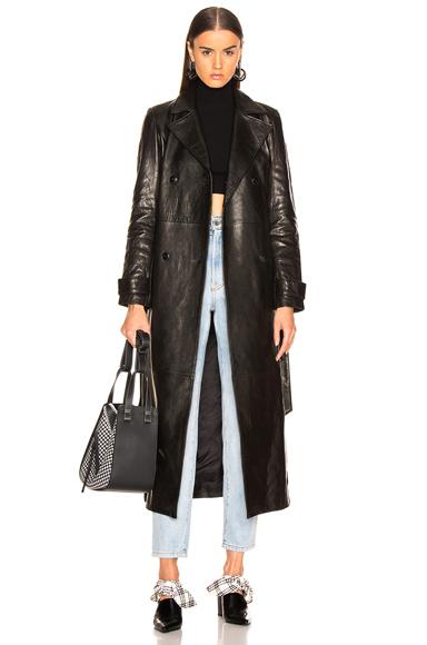 FRAME Denim Leather Trench Coat in Black