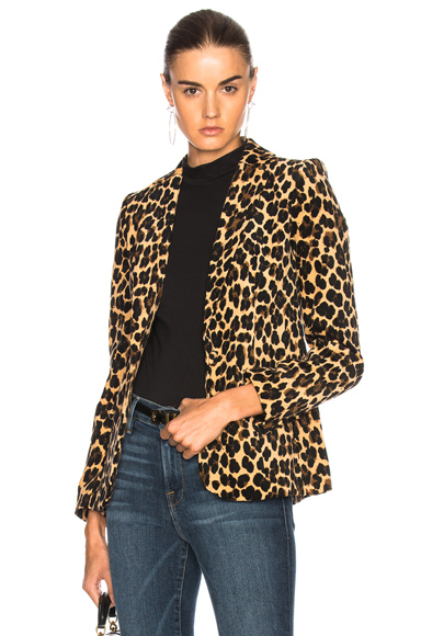 FRAME Denim Velvet Cheetah Classic Blazer in Animal Print, Neutrals