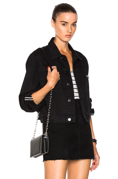Photo of FRAME Denim Le Jacket Reverse Overlook Cuff in Black online womens jacket sales