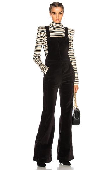 FRAME Denim Velveteen Jumpsuit in Black
