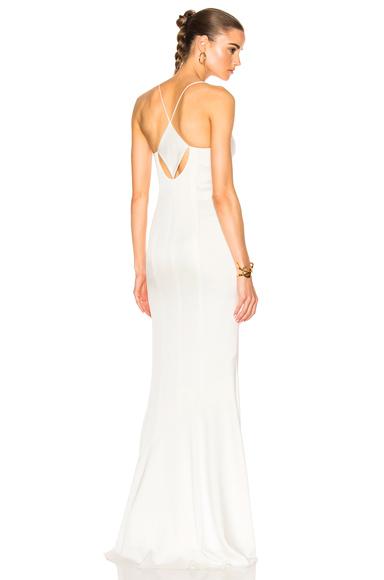GALVAN for FWRD Slit Spaghetti Strap Dress in White