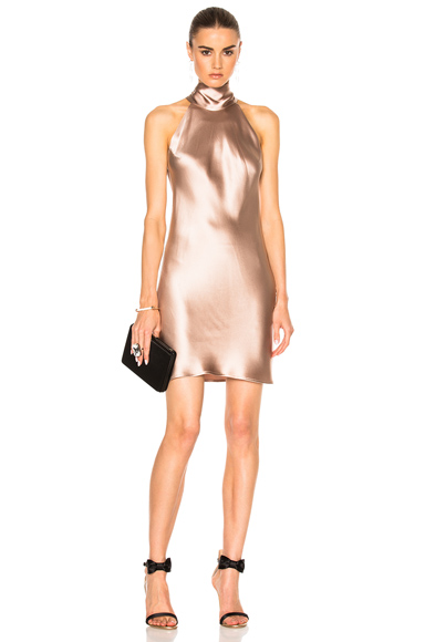 GALVAN for FWRD Tie Neck Slip Dress in Neutrals