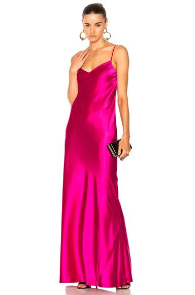 GALVAN V Neck Satin Slip Dress in Pink