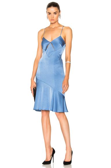 GALVAN for FWRD Diamond Mini Cut Out Cocktail Dress in Blue
