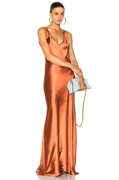GALVAN Signature Valletta Dress in Orange, Metallics