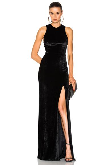 GALVAN Velvet Column Dress in Black