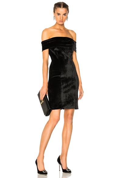 GALVAN Off the Shoulder Velvet Cocktail Dress in Black