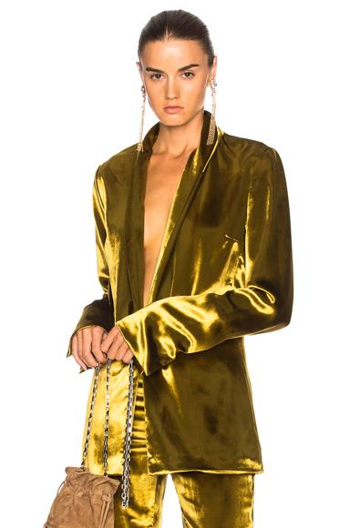 GALVAN Panne Velvet Blazer in Yellow