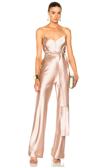 GALVAN for FWRD Slouchy Jumpsuit With Waist Tie in Pink